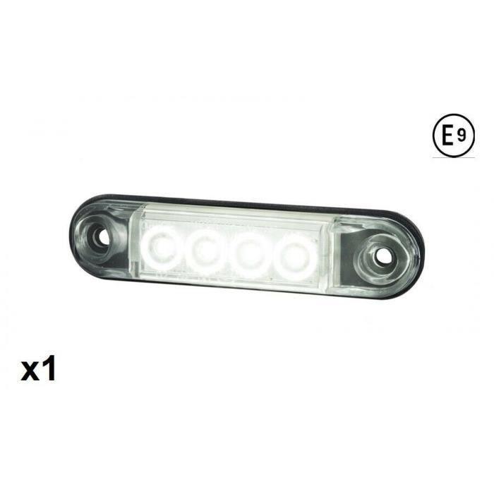 1pc Feu De Gabarit Encastre Flush Fit Blanc 12-24V E9 Homologation Universel LED