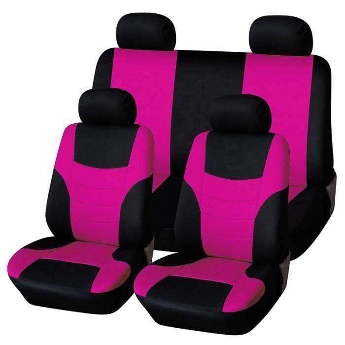 8pcs Universel Coiffant Couvertures de siège de voiture Ensemble Protecteur de classique (rose HOUSSE DE SIEGE - COUVRE SIEGE