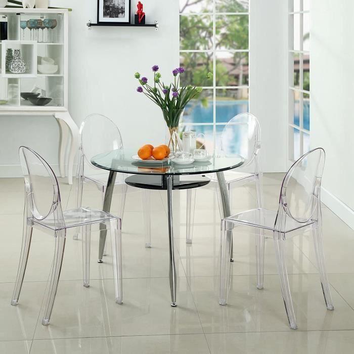 2 x Ghost Chaises en Acrylique Polycarbonate pour Salle à Manger, Salon, Bureau, Restaurant et Jardin, Transparent