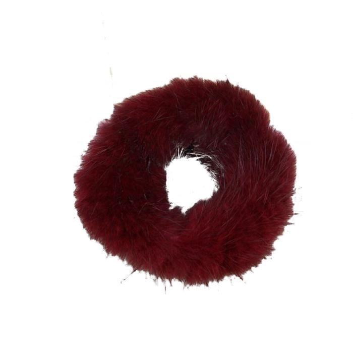 Mode Femmes Doux Vison Cheveux Chouchou Corde Queue De Cheval Rayure Bande Poignet Vin Rouge