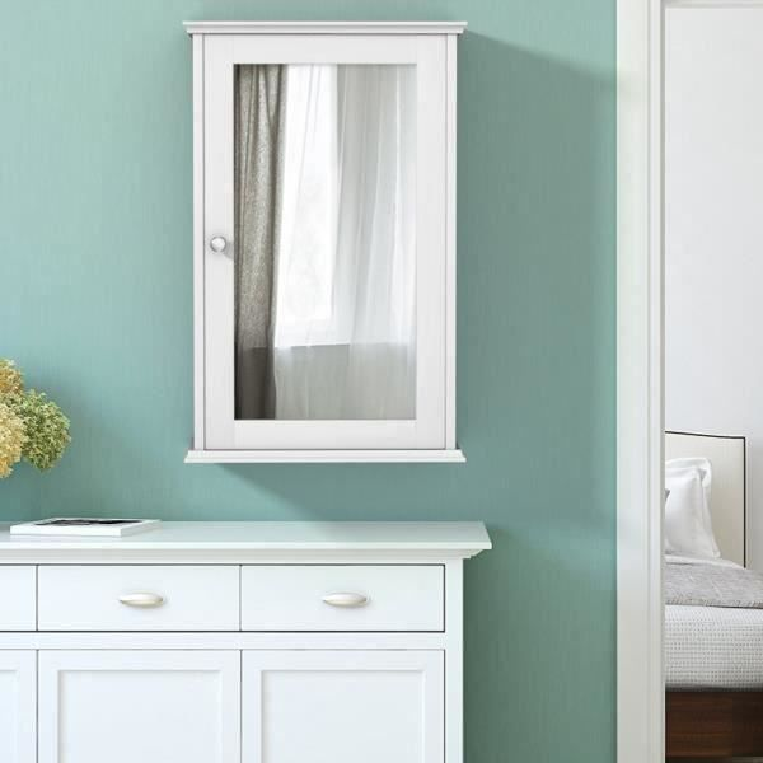Meuble Mural Salle de Bain Armoire de Toilette avec Miroir et 1 Porte Blanche Armoire à Miroir