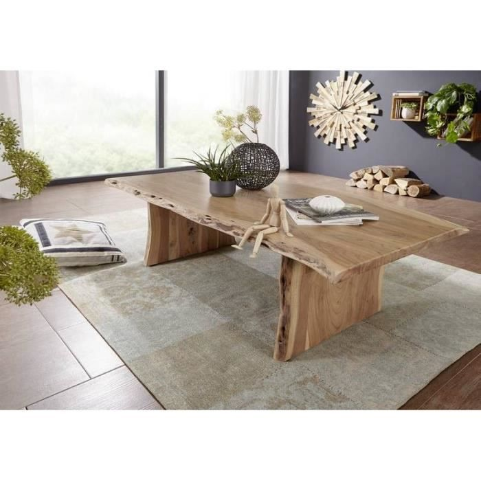 Table basse 150x70cm - Bois massif d'acacia laqué (Bois naturel) - Design naturel - PURE EDGE #306