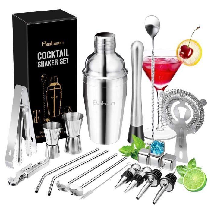 Baban Cocktail Set avec Shaker 22 Pièces en Acier Inoxidable Cocktail de Barman - Kit Shaker Cocktails Professionnel avec Accesso