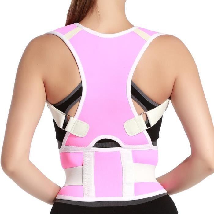 CEINTURE LOMBAIRE,Chaude hommes femmes adulte dos soutien bretelles réglable dos thérapie épaule magnétique Posture - Type Rose-S