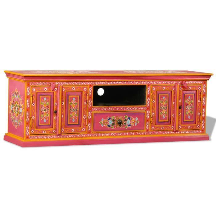 Meuble TV, Buffet Bas MEUBLE HI-FI Pour Salon Haut de gamme & CHIC - Armoire tele Table television Bois de manguier massif ®QDZITG®