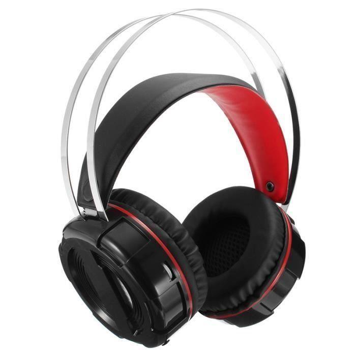 NEUFU Jeux casque écouteur audio filaire confortable Noir Non lumineux