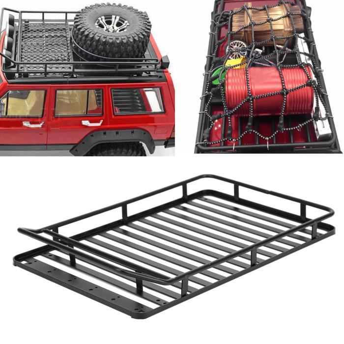 Garosa Galerie de toit RC Porte-bagages de toit 1/10 RC avec filet de rangement et lumière LED 238x156mm pour Jeep Wrangler SCX10