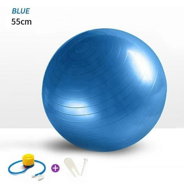 TIXCON Gym-Ball 55cm Anti-eclatement bleu avec Pompe