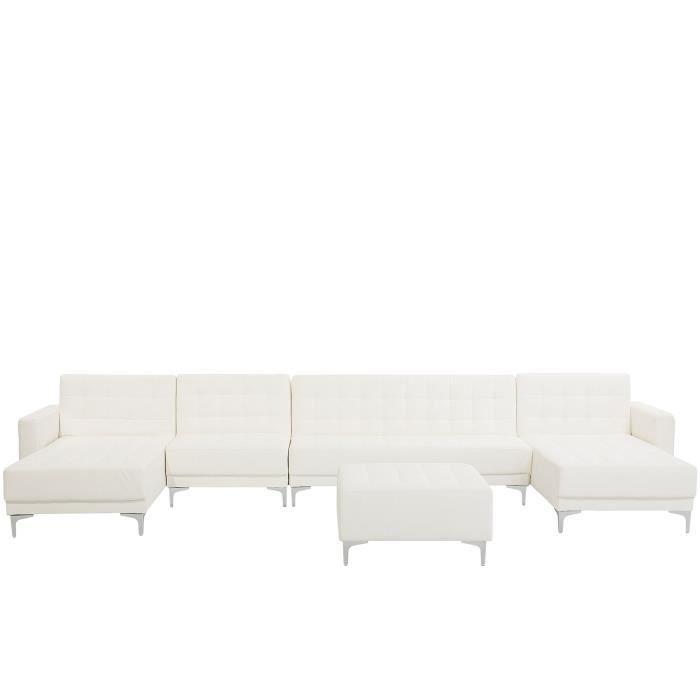 Beliani - Grand canapé en forme de U en simili-cuir blanc avec pouf ABERDEEN