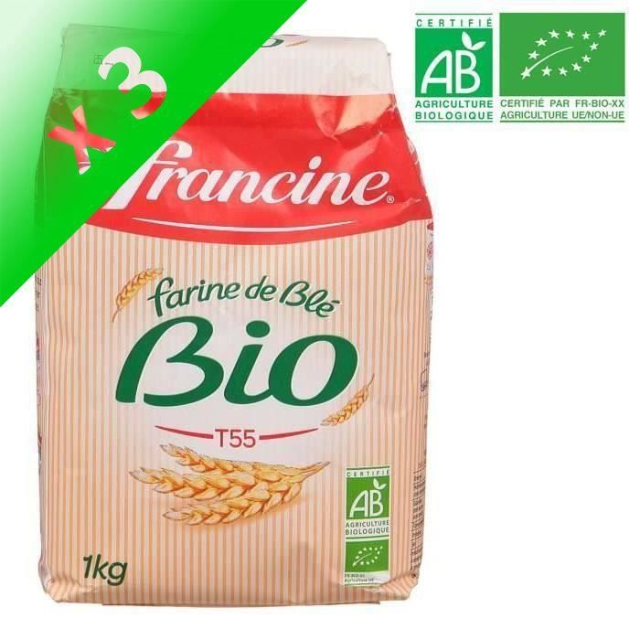 [LOT DE 3] Farine de blé bio 1 kg Francine