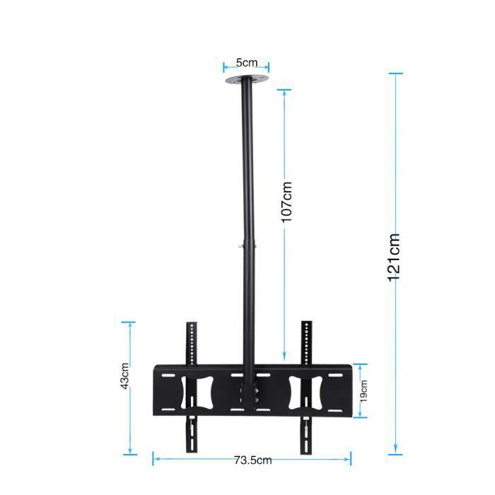 Support TV Fixation Plafond Inclinable Orientable pour Télévision Ecran 32- à 63- HB043 -VQU