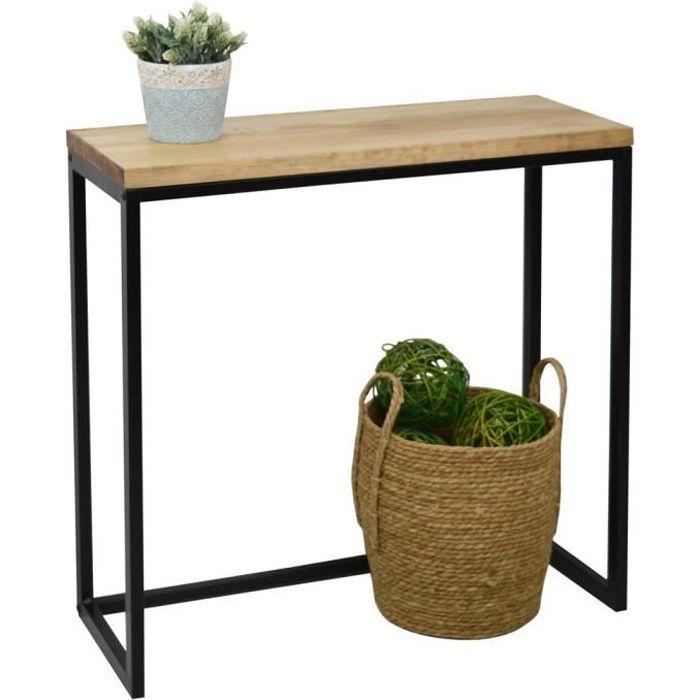 Table d'entree Console iCub Big Wood 70x35x80cm Noir bois 3cm finition vintage et acier style industriel