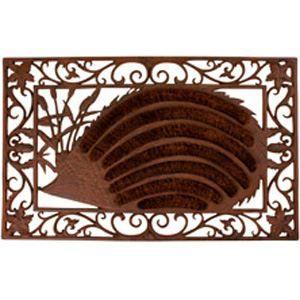Paillasson hérisson en coco et fonte 72x45x2.5cm