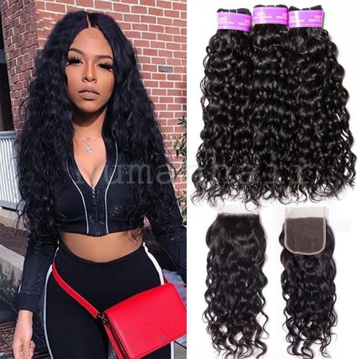 3 tissage Brésilien water wave Hair avce Closure, 100% Human Hair Extensions de cheveux ,10- Closure 8-