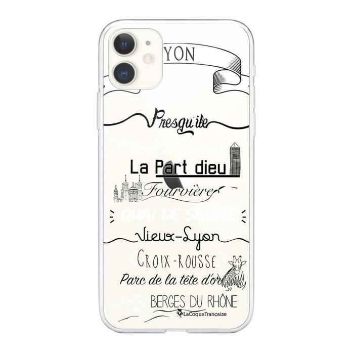 Coque iPhone 11 360 intégrale transparente Quartiers de Lyon Ecriture Tendance Design La Coque Francaise