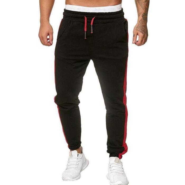 Les nouveaux hommes sport Sweatpants Pantalons Survêtement Pantalons Fitness Workout Joggers Noir