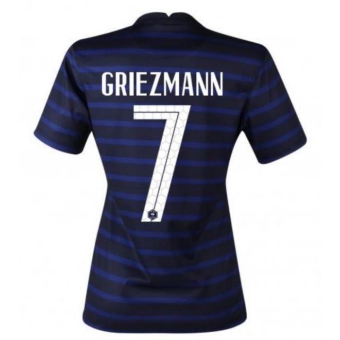Nouveau Maillot Officiel de Football Femme Nike France Domicile Euro 2020 Flocage Officiel Numéro 7 Griezmann