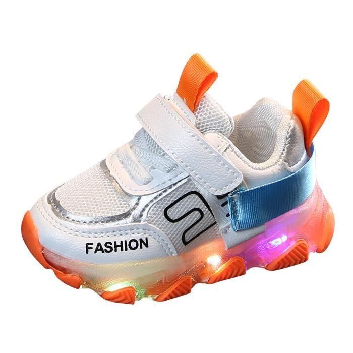Enfants enfant bébé filles garçons lettre Led lumineux Sport course baskets chaussures décontractées Orange