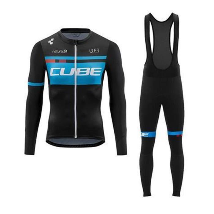 CUBE Tenue de Cyclisme Maillot de VTT Manches Longues Homme + Pantalon À Bretelle Vélo Route Ensemble de Vetement de Cycliste Pro