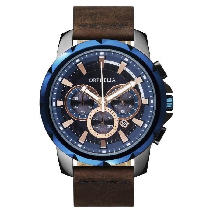 ORPHELIA - Montre Homme - Quartz Chronographe - Bracelet Cuir Marron - OR81502