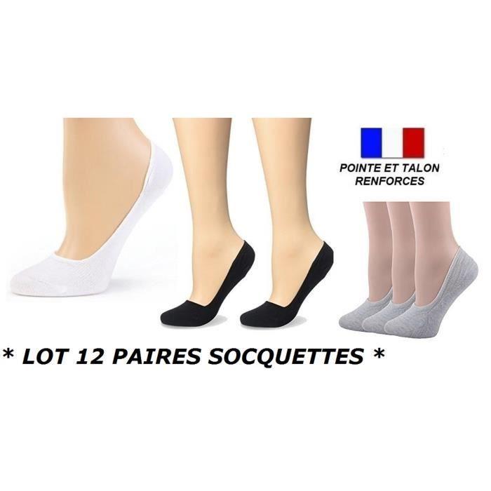LOT 12 PAIRES SOCQUETTE TAILLE 35 36 37 38 39 40 INVISIBLE HOMME FEMME ENFANT FILLE GARCON Coton Sport Danse ...