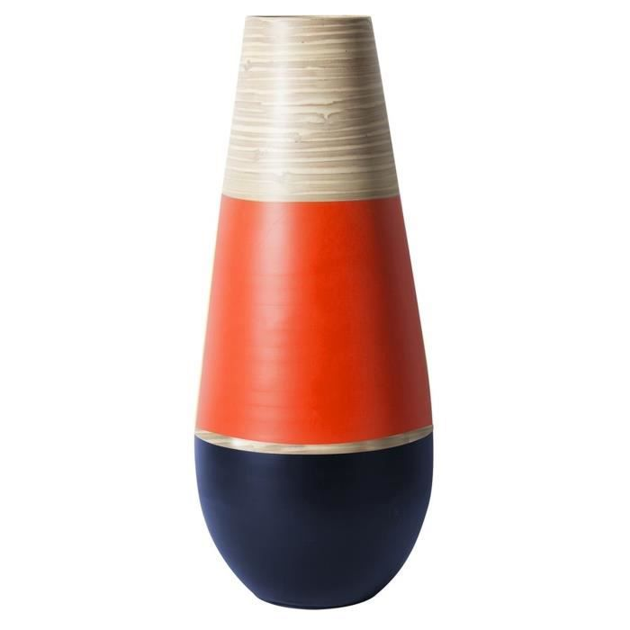 Vase jarre en bambou Wax - Diam. 20 x H. 50 cm - Rouge