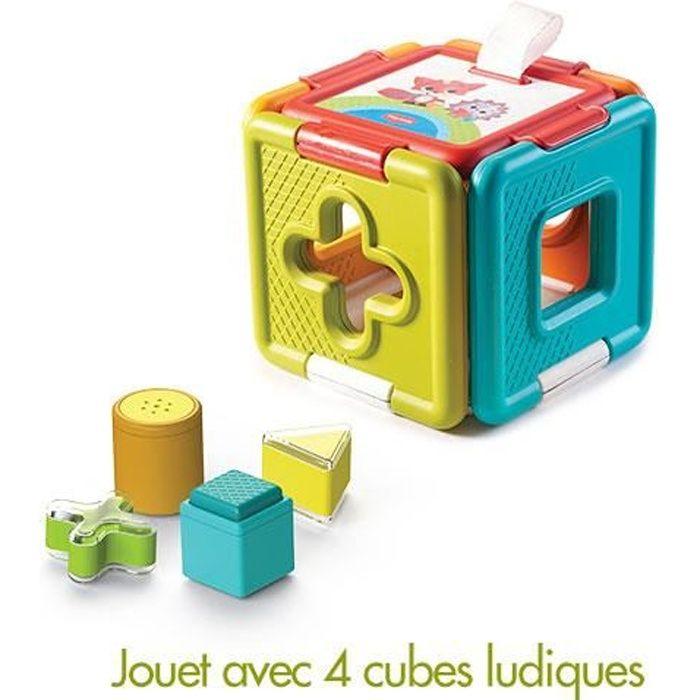 Tiny Love Cube d'Activités 2 en 1 Trieur de Formes/Puzzle Jouet d'Eveil Bébé 6 Mois/Plus Collection dans la Prairie
