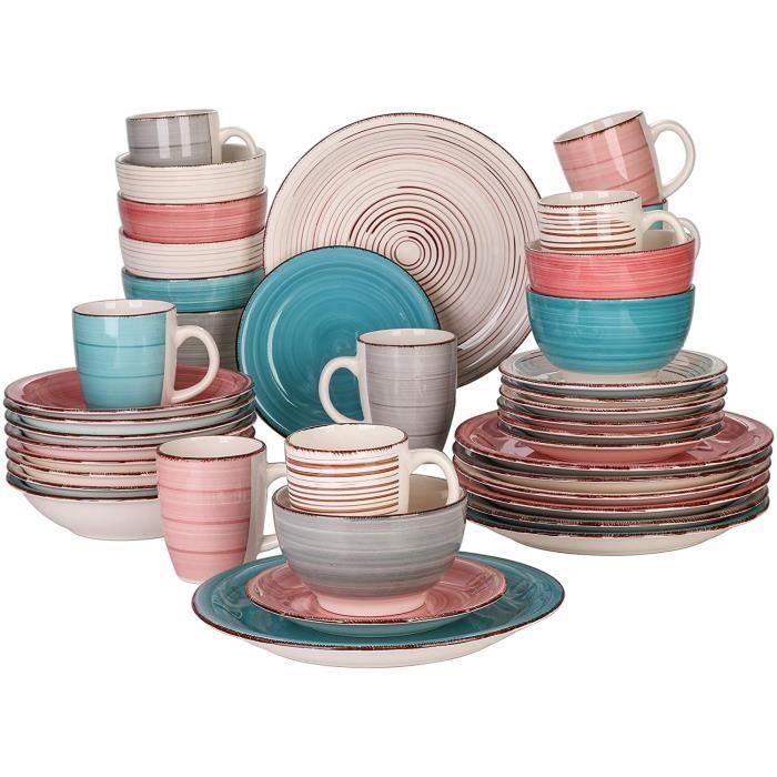 vancasso, Série Bella, Service de Table en Porcelaine,Faïence Style Vintage Rustique,Motif Cercle Arbre-multicolore -40pcs