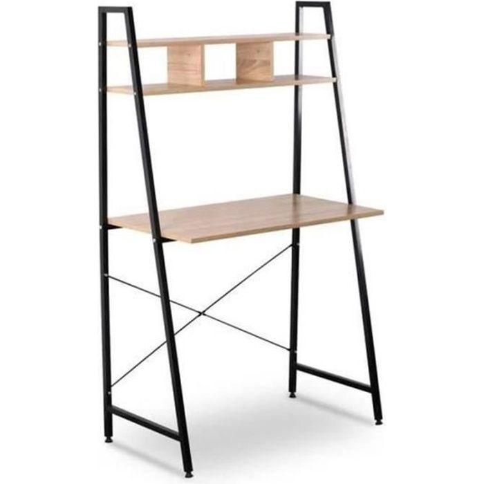 WOLTU Bureau d'ordinateur, table de bureau en bois et acier, Bureau informatique avec étagère,84x46x140cm, 12kg,Noir+chêne clair