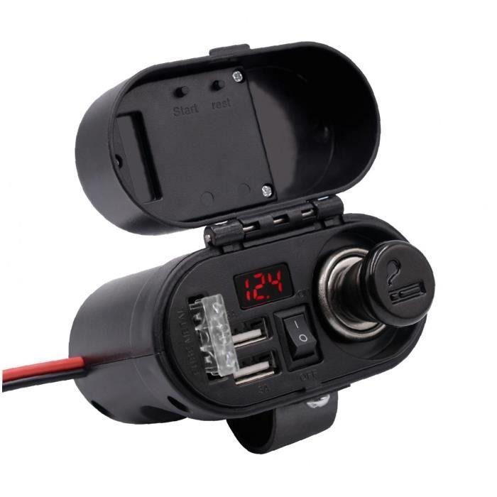 Adaptateur de chargeur de moto Dual USB Guidon USB Vue arrière Miroir Pince de pince avec comprimés GPS (Gold)
