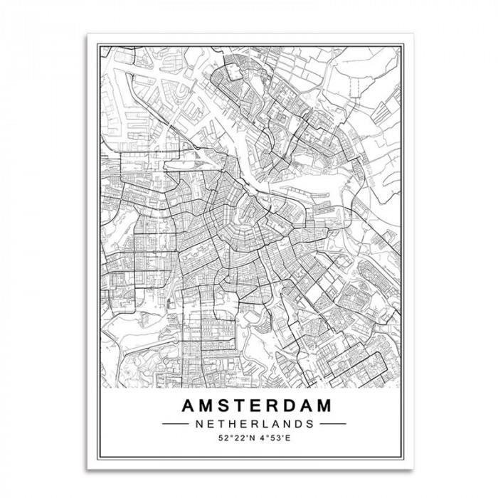 Version 40x50 Cm No Frame Amsterdam Nordique Minimaliste Mondialement Celebre Ville Carte Toile Peintures Affiche Imprimer Achat Vente Tableau Toile Cdiscount