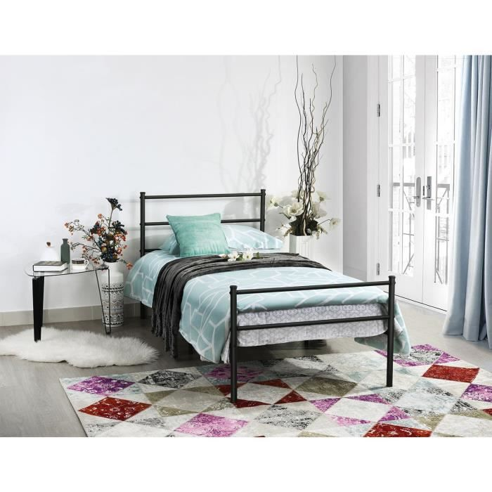 lit metal 90x190 achat vente lit metal 90x190 pas cher cdiscount. Black Bedroom Furniture Sets. Home Design Ideas