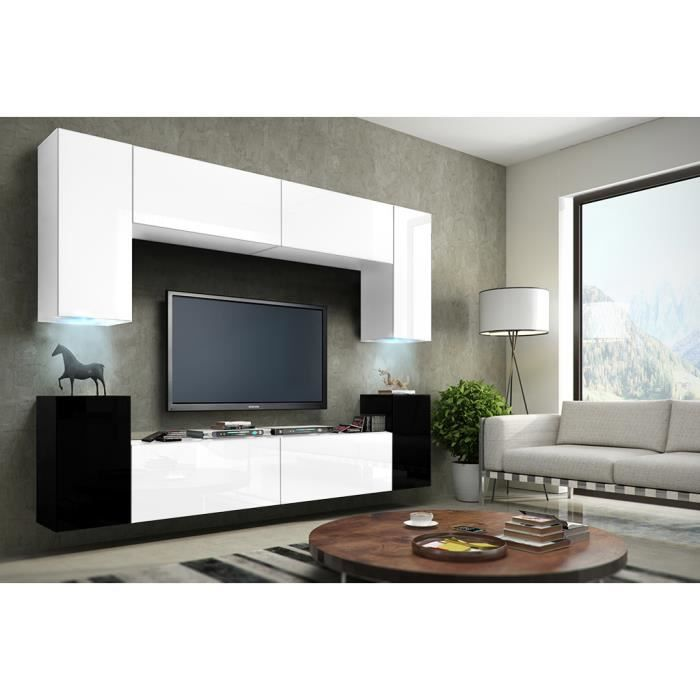 meuble de salon meuble tv complet suspendu concept corps blanc et noir mat fa ades blanches et. Black Bedroom Furniture Sets. Home Design Ideas