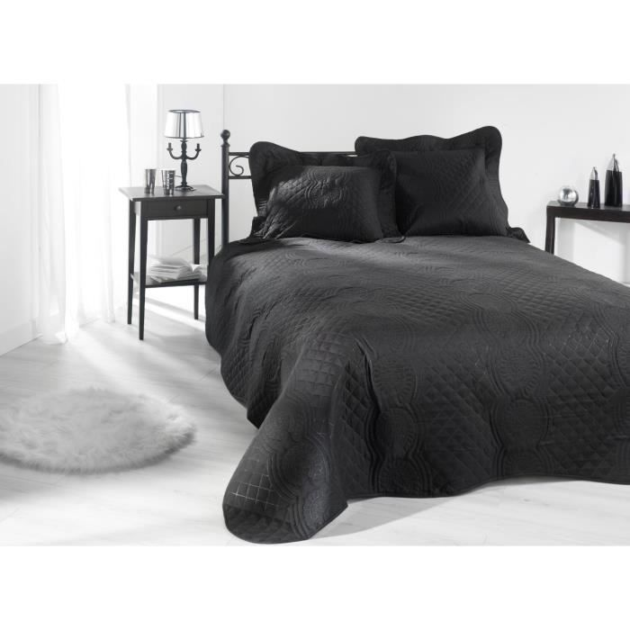 couvre lit jet de lit boutis nocturne noir 230x250 cm achat vente jet e de lit boutis. Black Bedroom Furniture Sets. Home Design Ideas