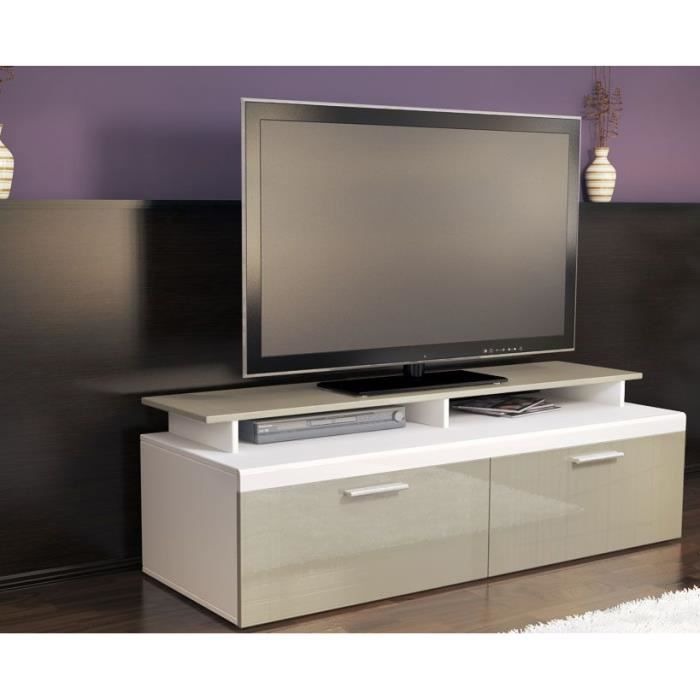 meuble tv blanc sable 140 cm achat vente meuble tv meuble tv blanc sable 140 c cdiscount. Black Bedroom Furniture Sets. Home Design Ideas