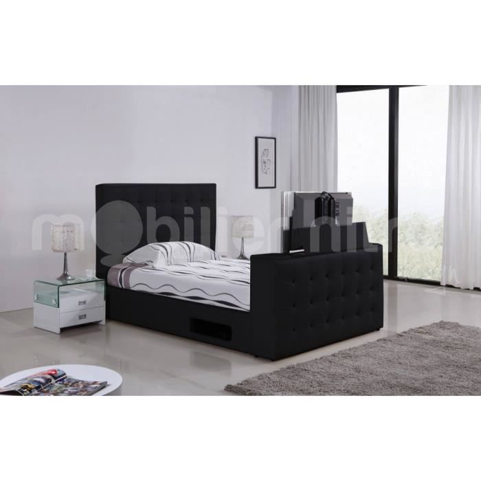 lit capitonn tv adolfo 180cmx200cm noir avec m achat. Black Bedroom Furniture Sets. Home Design Ideas