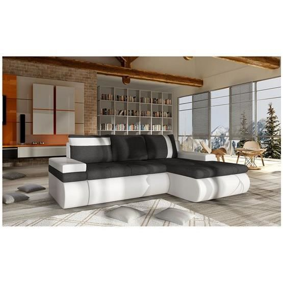 canap d 39 angle convertible dewa mini noir et blanc angle. Black Bedroom Furniture Sets. Home Design Ideas