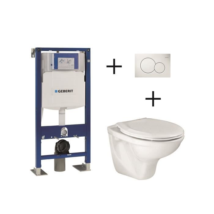 Pack Complet Wc Suspendu Bâti Support 112 Cm Geberit Plaque
