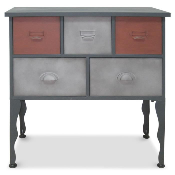 Commode en m tal 5 tiroirs sergio gris rouge achat - Commode en metal ...
