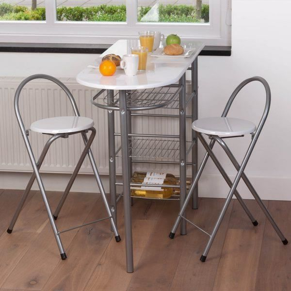 Ensemble table bar 2 tabourets blancs achat vente for Table haute de cuisine et tabouret