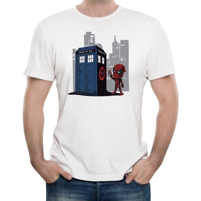 T Shirt Deadpool Geek Drole Homme Blanc Achat Vente T Shirt Cdiscount