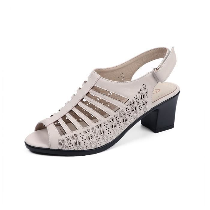 Chaussures Femmes D'été Souple Épais En Talons Sandales Cuir XPkiuZO
