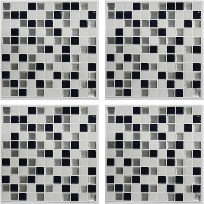 carrelage mural adh sif facile poser sticktiles mosaique noir blanc 4 pi ces 26 7 x 26 7. Black Bedroom Furniture Sets. Home Design Ideas
