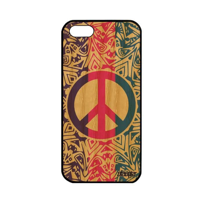 Coque iPhone 5 5S SE en bois silicone Peace and lo