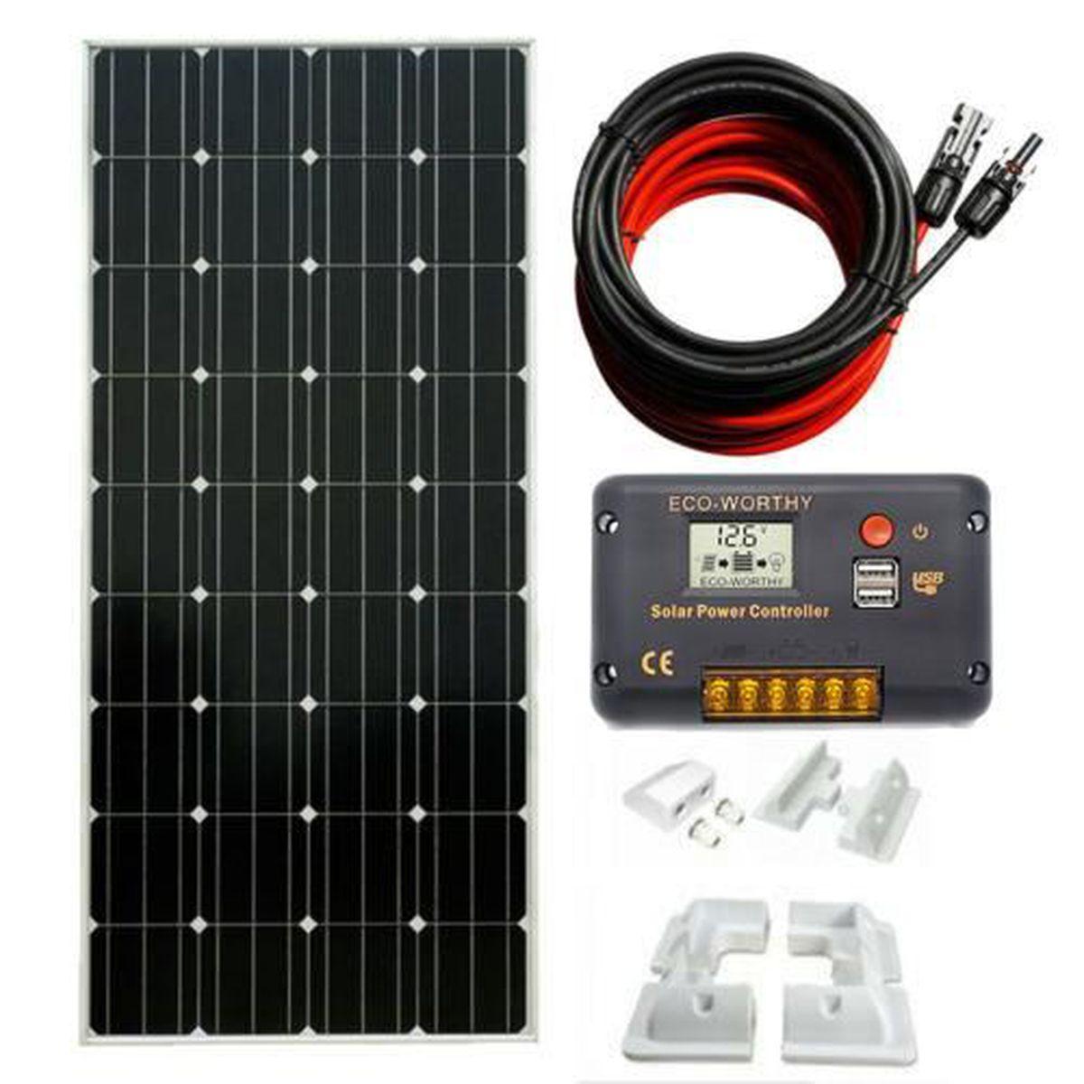 150W panneau solaire mono 12V kit complet supports de montage pour caravane bateau camping-car
