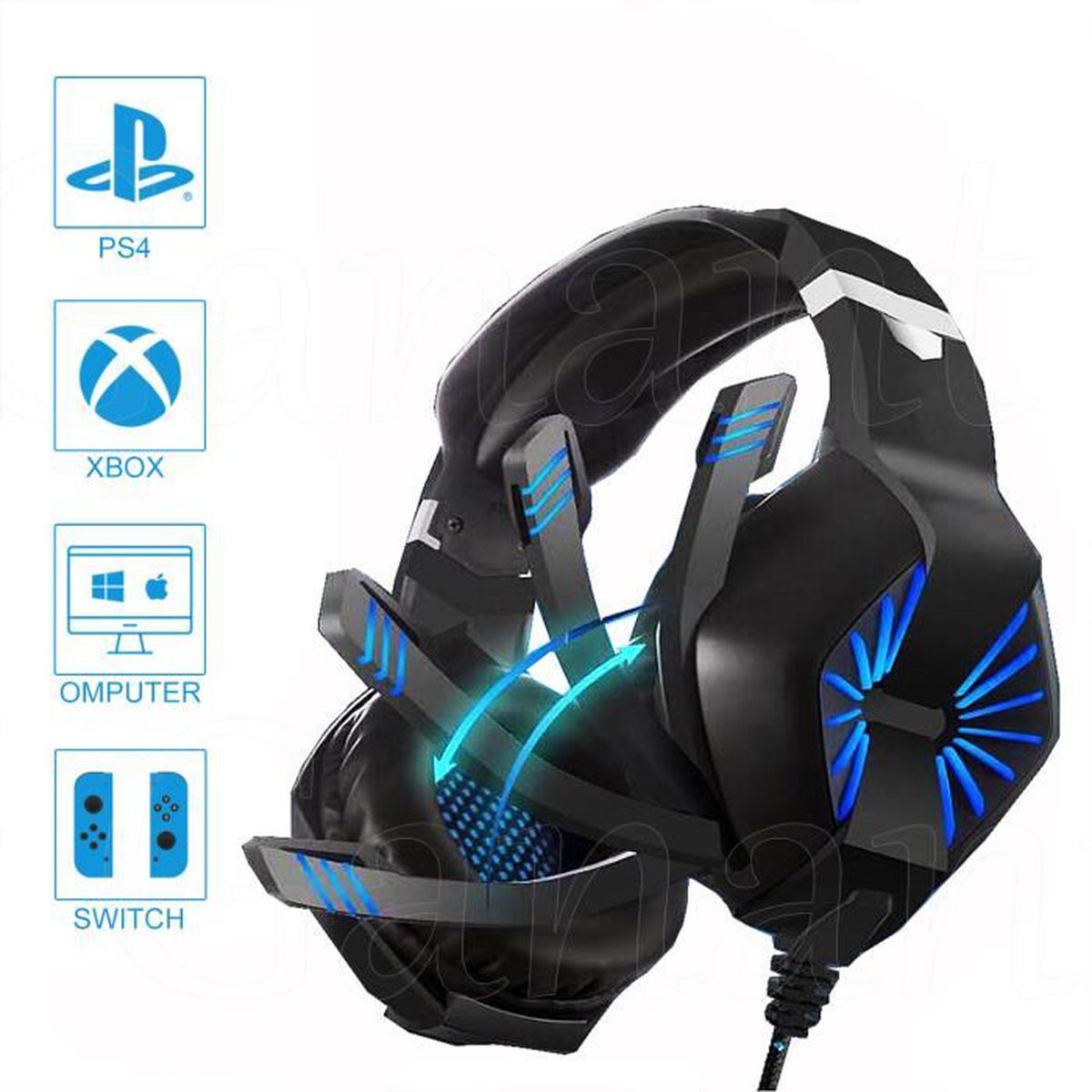CASQUE AVEC MICROPHONE bleu casque gamer ps4. casque gamer pour jeux .cas