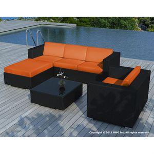 Salon de jardin Noir coussin Orange - SD8201 - Achat / Vente ...