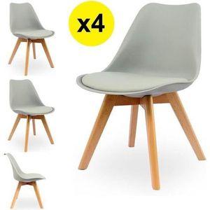 CHAISE Lot de 4 chaises scandinaves coloris gris clair -