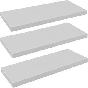 ETAGÈRE MURALE Lot de 3 étagères murales en bois - 80 cm - blanc
