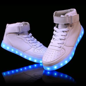 Chaussure Led Lumineuse Homme Femme 7 Couleur Usb Charge Led Chaussures Clignotante Haut Top Baskets Blanc
